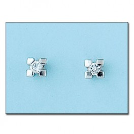 Pendientes de oro blanco con diamantes medidas 5x6mm