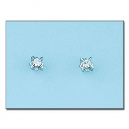 Pendientes de oro blanco 18kl con diamantes 4.5x5mm